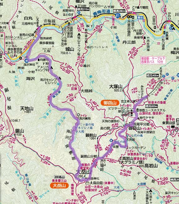 海沢探勝路~大岳山ルート