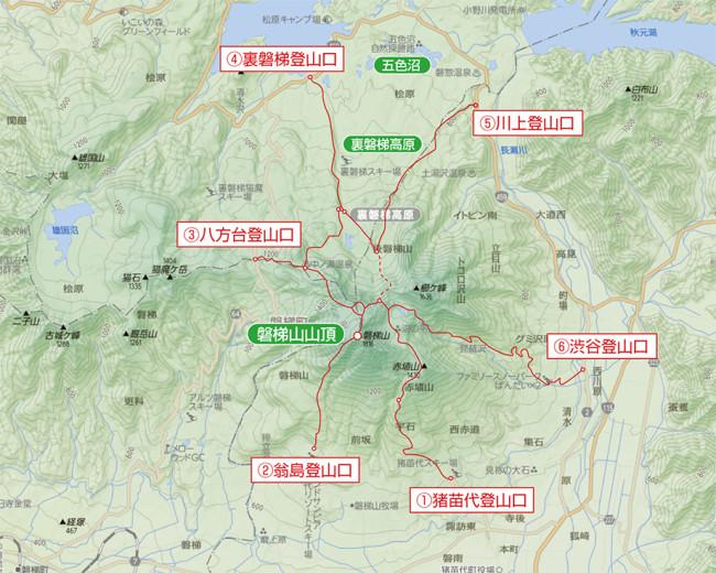 磐梯山登山ルート地図