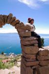 チチカカ湖の少年 ペルー1409