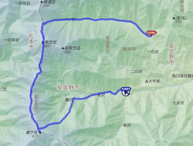 常念岳のルート地図